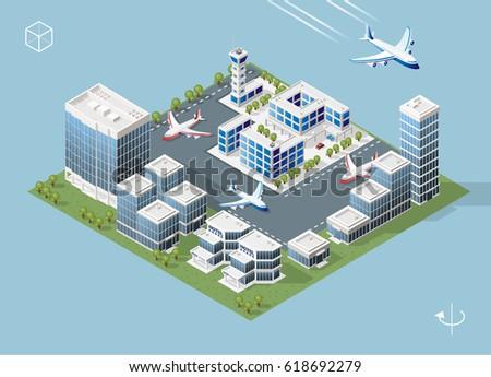 Set of Isolated High Quality Isometric City Elements on Blue Background