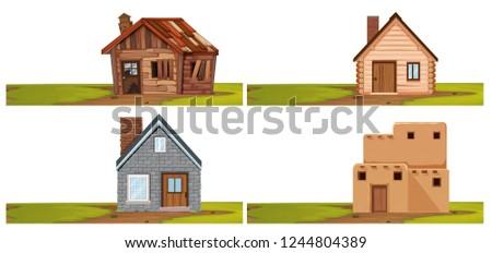 Set of isolated house  illustration