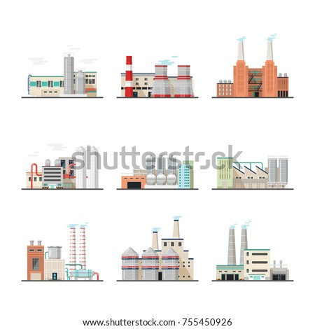 Set of isolated huge or big power stations. Heavy industry chemical plants and power factory. Constructions or buildings with chimney and pipe. Engineering and architecture,technology and hazard theme