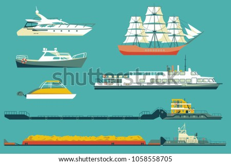 Set of isolated industrial tugs and passenger boats and yachts icons. Flat colored vector illustration