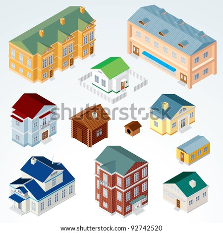 Set of Isolated Isometric Buildings. Illustration of Various Urban and Rural Houses and Dwellings, Detailed Vector Clip Art with Easy Editable Colors.