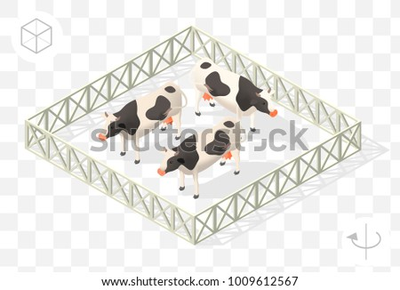 Set of Isolated Isometric Minimal City Elements . Cows with Shadows on Transparent Background