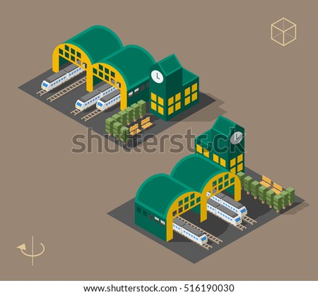 Set of Isolated Isometric Minimal City Elements. Train Station with Shadows on White Background.