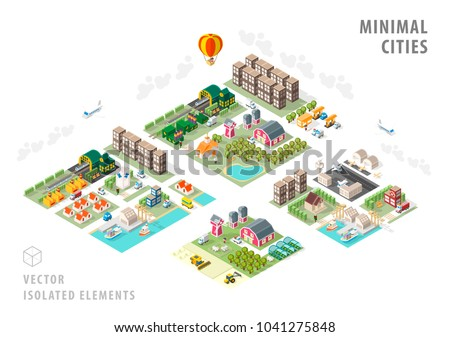 Set of Isolated Isometric Minimal City Maps . Elements with Shadows on White Background