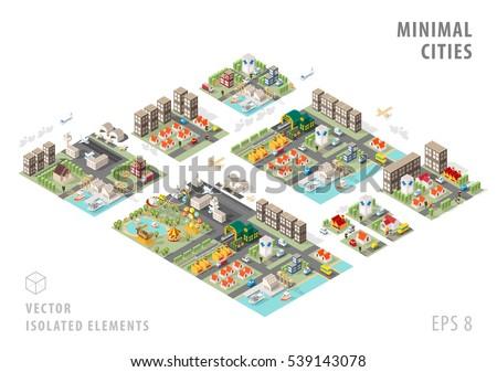 Set of Isolated Isometric Minimal City Maps. Elements with Shadows on White Background.