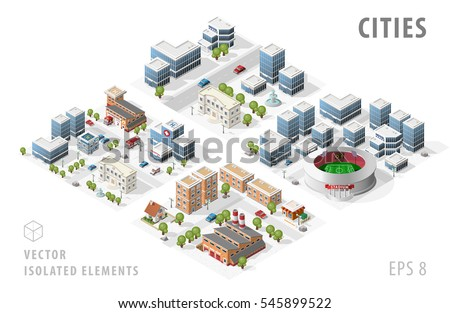 Set of Isolated Isometric Realistic City Maps. Elements with Shadows on White Background.