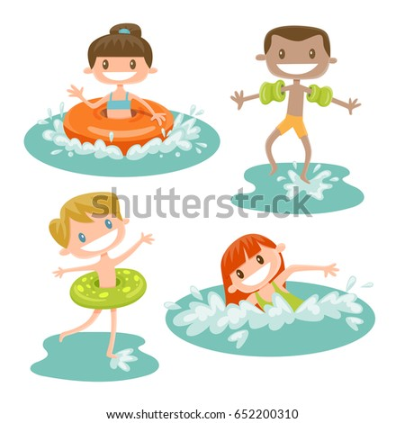 set of isolated kids playing at