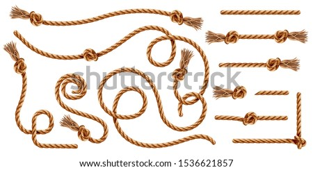Set of isolated knotted ropes with tassels or realistic cords with brush and knot. Nautical 3d thread or realistic hemp whipcord with loops and noose. Twisted and braided, folded, spiral fiber.