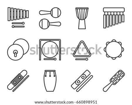 Set of isolated line icon. Percussion musical instrument. Black outline collection. Xylophone, maracas, djembe, chimes, cymbals, gong, triangle tambourine guiro conga claves jingle sistrum