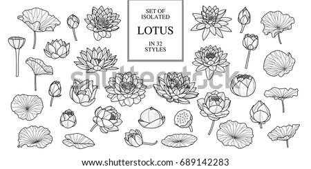 Set of isolated lotus in 32 styles. Black outline. Hand drawn style. Vector illustration