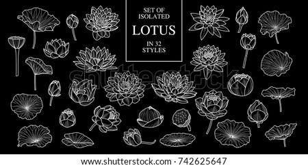Set of isolated lotus in 36 styles. Cute hand drawn flower vector illustration only white outline on black background.