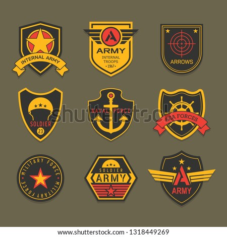 Set of isolated military badge or army insignia, american ranger patch, squad crest for airborne. Icons with star and helmet, anchor and ribbon, crosshair.