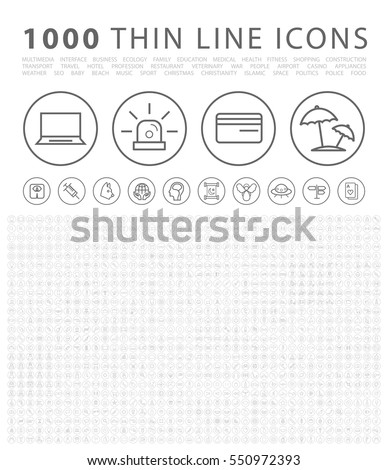 Set of 1000 Isolated Minimal Modern Simple Elegant Black Icons on Circular Buttons. Vector Elements on White Background.
