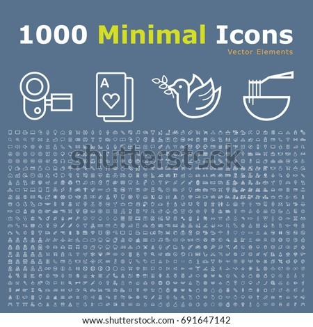 Set of 1000 Isolated Minimal Modern Simple Elegant White Thin Line Icons on Color Background