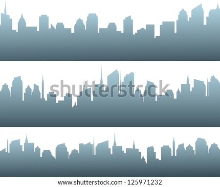 set of isolated modern blue city silhouette with sunrise