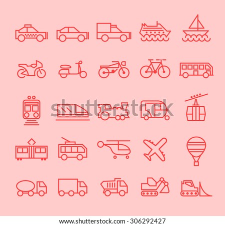Set of Isolated Modern Minimalistic Simple Transport Thin Line Icons on Color Background.