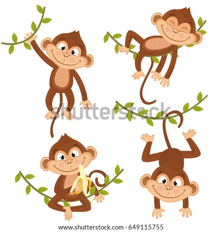 set of isolated monkey hanging