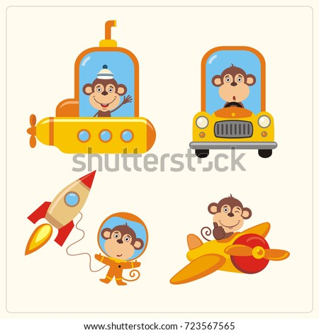 Set of isolated monkey in various transport: airplane, submarine, car, space rocket. Collection of funny monkey in transport in cartoon style.