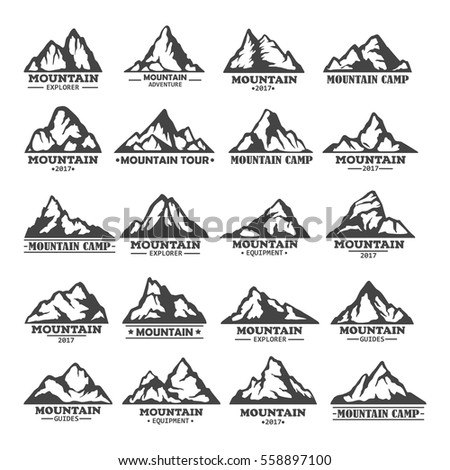 Set of isolated mountains with rocky peaks.Landscape of winter rocks or hills icons, nature peaks outdoor view. Travel agency logo, tourism, adventure and expedition, exploration hiker club, climbing
