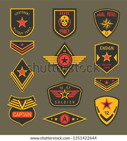 Set of isolated navy clothing badges or army apparel signs, naval insignia with ribbon and star, military ranger patch or rank, american soldier crest or america air force clothing tag. War, military
