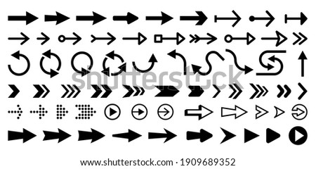 Set of isolated next or right move arrows. Play buttons for website. Undo and redo symbols. Directional vector icon for software design. Circle sign for update or refresh. Navigation pointer.Pictogram