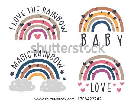 set of isolated nursery rainbows   - vector illustration, eps