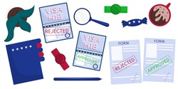 Set of isolated objects on the table, top view, passports with visas, files, documents. Working American visa h1b rejected and approved. Vector illustration in a flat style.