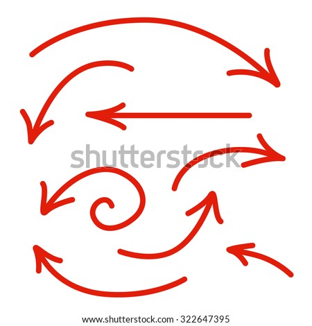 Set of Isolated on White Background Red Arrow Lines. Vector Illustration.
