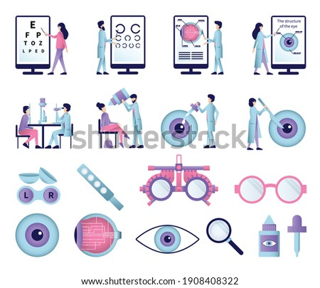 Set of isolated ophthalmology flat icons with eye sight test equipment glasses lenses and eye drops vector illustration Сток-фото ©