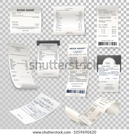 Set of isolated paper checks on transparent. Printed cash dispenser payment bill or supermarket, shop receipt or atm finance calculation, cheque. Accounting and transaction, purchase theme