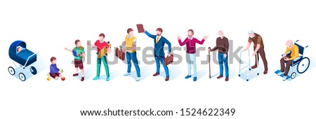 Set of isolated people in aging stages. Men generation growth. Infancy and childhood, puberty and adolescence, adult and maturity, old. Infant and teenager, father and grandfather.Demography evolution Stock photo ©