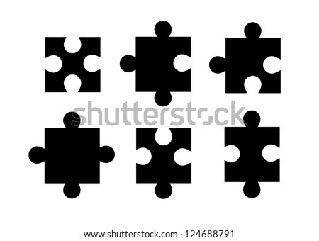 Set of isolated puzzle pieces on white background vector.