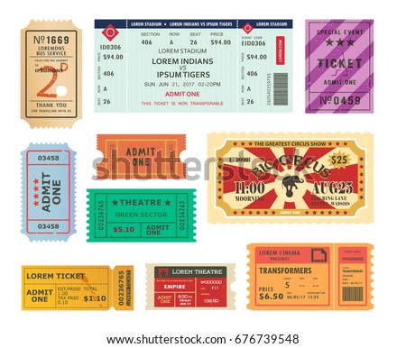 set of isolated retro tickets