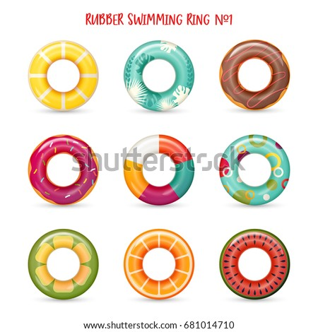 Set of isolated rubber swimming rings with cake, flower and lemon painting on it. Life saving floating lifebuoy for beach or ship, rescue belt for saving people. Water and beach theme, secure icons ストックフォト ©