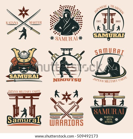 set of isolated samurai martial
