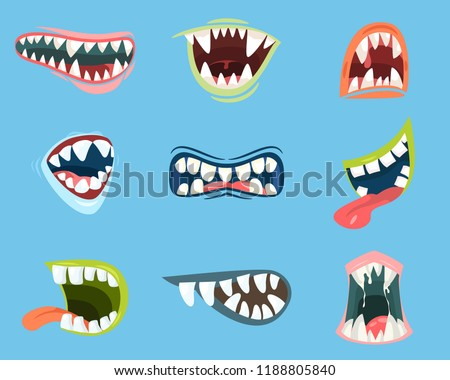 Set of isolated scary mouth with sharp teeth and long tongue. Spooky smile and angry scream. Cartoon monster or dracula, bat or vampire jaw with emotion expression. Helloween and emotion theme