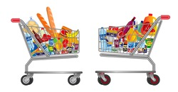 set of isolated Shopping trolley full of food, fruit, products and grocery goods