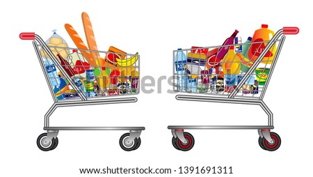 set of isolated shopping