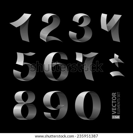 Set of isolated silver shining ribbon numbers on black background. RGB EPS 10 vector illustration #235951387