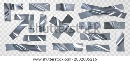 Set of isolated silver tape, scotch on a transparent background. Realistic pieces of silver scotch tape for attaching. Realistic vector illustration. Photo stock ©