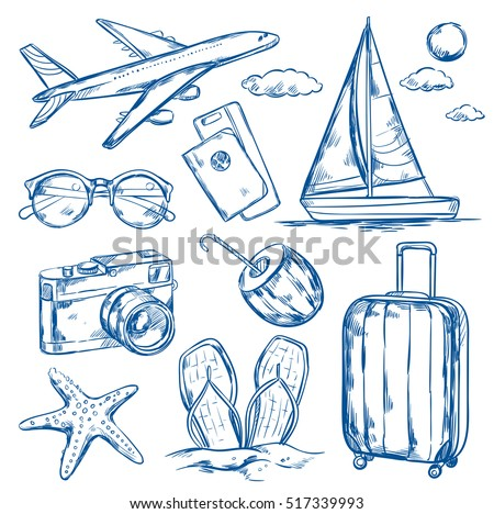 Set of isolated sketch images of travel accessories tourist goods plane and yacht on blank background vector illustration