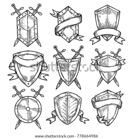 set of isolated sketches of...