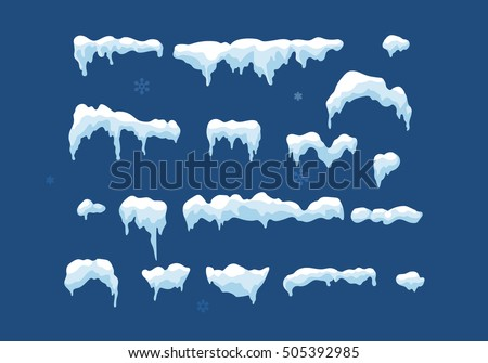 Set of Isolated snow cap. Snowy elements on winter background. Vector template in cartoon style for your design. Snowfall and snowflakes in motion stock photo