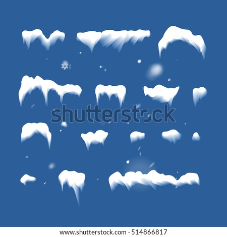 Set of Isolated snow cap. Snowy elements on winter background. Vector template in naturalistic style for your design. Snowfall and snowflakes in motion