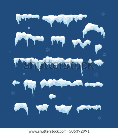 Set of Isolated snow cap. Snowy elements on winter background. Vertical vector template in cartoon style for your design. Snowfall and snowflakes in motion