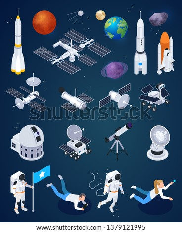 Set of isolated space exploration images with realistic rockets artificial satellites and planets with human characters vector illustration