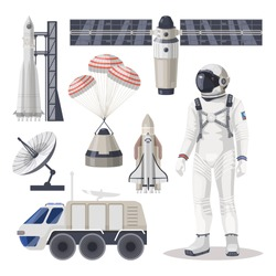 Set of isolated space exploration or cosmos expedition item. Spaceship, astronaut, spacesuit, spaceman, spacecraft, starship, capsule with parachutes, rocket station, Mars rover, satellite, antenna