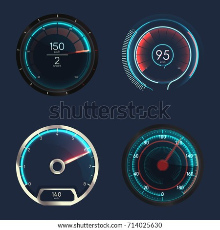 set of isolated speedometers