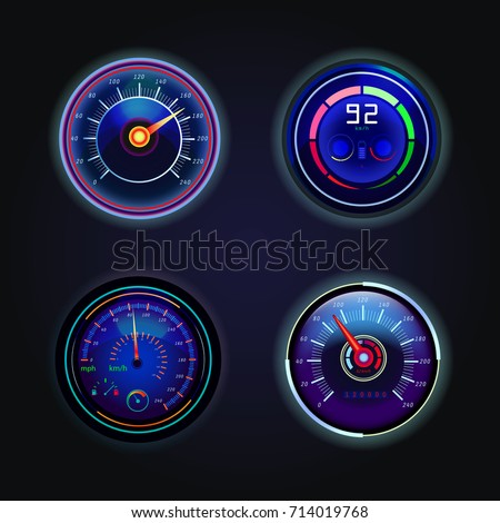 Set of isolated speedometers with fuel sign, tachometer and battery charge. Automobile dashboard gauges with arrows showing speed in km/h. Motorbike or motorcycle speed indicator,counter. Racing theme
