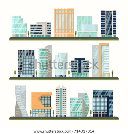 Set of isolated streets with modern buildings near road. Urban neighborhood with skyscrapers houses, city or town downtown district with apartments outdoor view. Metropolis and architecture theme